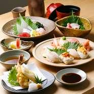 当店を知っていただけるお得なコースです付出し・刺身5種盛り・小鉢・焼物or揚げ物・寿司8カン・赤だし