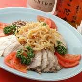 ・前菜三種 (クラゲ・蒸し鶏・チャーシュー)