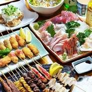 宴会料理4400円から。串亭人気のバリエーション豊かなメニューをご用意。