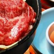 国産和牛しぐれ煮、国産和牛のすき焼き、玉子、 ご飯、赤出汁、香の物、デザート