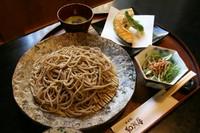 ざるそばorかけそば+ミニサラダ+ミニ天ぷら+抹茶アイス