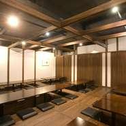 宴会もスタイリッシュな空間でゆったりと80名様までゆっくりと座って頂けます。
