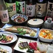 旬の料理に合う美味い日本酒と焼酎を、日本全国から取り寄せています。各地の銘酒を気軽に飲んでいただけるように、たっぷりとサービスいたします。