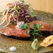 肉汁を閉じ込め、時間を掛けてつくり上げた『黒毛和牛の鉄板焼』 ※画像は一例。宮崎県産ランプ。