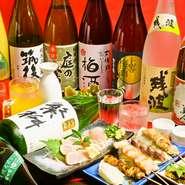 繁桝大吟醸や、筑後川純米大吟醸等の銘酒や、島美人、二階堂等の焼酎、九州産の梅酒等九州を楽しめちゃう☆