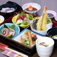 内容 ◆刺身 ◆天ぷら ◆日替わり鉢 ◆煮物 ◆小鉢 ◆茶碗蒸し ◆白米 ◆汁物 ◆甘味 ※価格は税込みになります。