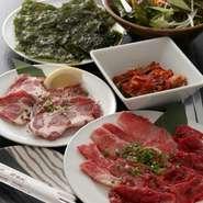・和牛カルビ ・ロース ・スペイン産イベリコ豚 ・特製サラダ ・韓国やきのり ・キムチ 各1人前
