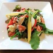 脂ののったサーモンとたっぷり野菜の丼。 全てのランチメニューにパン・ライス食べ放題/スープ・ドリンク飲み放題の限定サービスが付いています。
