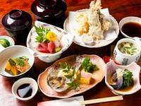 刺身・天ぷら・焼き物・煮物・酢の物・茶碗蒸し・ご飯・みそ汁・お新香がつきます。