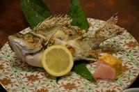 その日に仕入れた、鮮度抜群の旬の魚の塩焼きです。 値段は魚の種類や大きさによって変わりますが、1200円(税込)からになります。