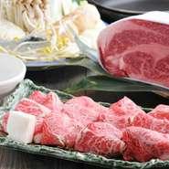 品質を誇る黒毛和牛もも肉、赤身とサシが見事。割りしょう油でどうぞ