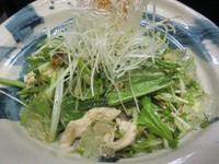 蒸し鶏と水菜のレモンジュレサラダ