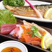 新鮮なお刺身や焼魚など。毎日の仕入れで内容が変わります。