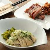 逸品、前菜も充実…蒸鶏の葱生姜ソース、豚肩ロースの蜜焼き