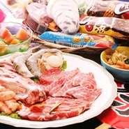 焼肉とお祭りにちなんだアイテムが食べ放題。 ベーシックコースは、大人1980円・小学生1180円・幼児680円より3歳以下無料。 家族みんなでガッツリ食べて楽しんじゃおう!(クーポン割引も充実)