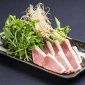 自家製出汁で! 無農薬三浦さんのセリと鴨ロース鍋 (2人前)
