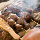 美味しい焼鳥を一本一本備長炭で焼き上げます。