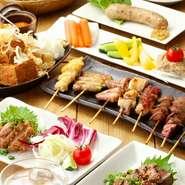 人気の鶏しゃぶコースは、大山鶏の鶏シャブのほかサラダ、鶏天、串5本など、全部で8品です