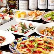 南ヨーロッパテイストの色とりどりの料理は、愉しい宴をさらに盛り上げてくれます。華やかな料理共に好きなドリンクで愉しいひとときを過ごせます。合コンに最適な、飲み放題付きプランもあります。