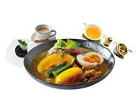 白米or黒米(+100円)・前菜・野菜のスープカリーライス・ドリンク(ラッシー又はマンゴーラッシー又はチャイ又はコーヒー)・デザート