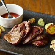 和牛ハラミ肉の肉厚ステーキ 柔らかくて噛むほどに溢れる旨みです。
