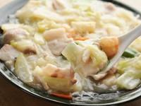 ロース・エビ・野菜 をさっぱり塩味で仕上げた一品です