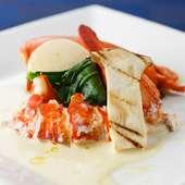 コースの魚介料理~フレッシュオマール海老の白ワインソース
