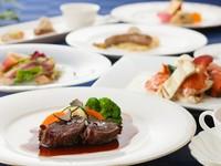 お口取り、オードブル、温製オードブル、ポテト料理、メインディッシュ、のディナーコースです
