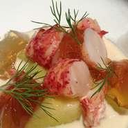 オマール海老とメロン、ヴァニラ風味