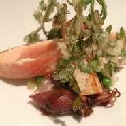 桜鱒のミキュイ、春の薫りにつつまれてv