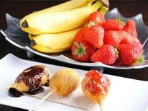 バナナ、桜餅、イチゴなどのデザートも串揚げに