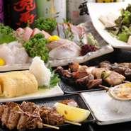 肉料理と魚料理がバランスよく配されたコース料理は宴会におすすめ。中でも人気の4200円コースは、ボリュームがあり、【すずや】のおいしさを思う存分に味わえます。お酒との相性もバツグンです。
