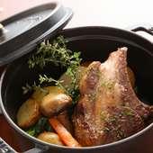 旨味を吸った野菜が美味しい『仔羊背肉のロースト』