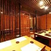 個室は8名様まで、お座敷は25名様までの宴会ができます