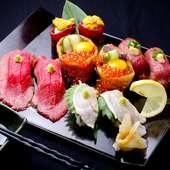 人気の肉を炙りったお寿司もご用意しています