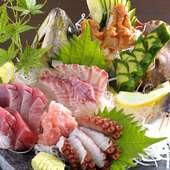 魚の旨みが存分に楽しめる『獲れたて新鮮魚介類のお造り』