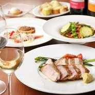 大好評、志太地域の食材と豚肉コースは前菜、パスタ、メイン、デザートが付いて3500円とお値打ち!