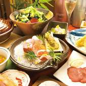 コース料理の一例。季節によって内容を変え、旬の美味で彩ります
