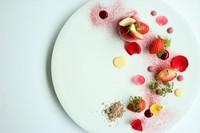 ルビーカカオを使用した色鮮やかなで濃厚なショコラムース。  通常のカカオにはない、果実のような香りが苺と寄り添います。