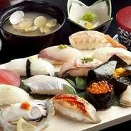 小鉢・寿司6貫・天ぷら・茶碗蒸し・みそ汁