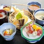サクッと揚がった天ぷらがうれしい『天ぷらさしみご膳』