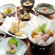 明石で創業65年、老舗料亭【人丸花壇】の味を神戸で再現した【人丸花壇 鯛庵】。明石直送の新鮮な魚介類を使った料理を、じっくりと味わうことができます。趣きのある空間と相まって、特別なひとときが過ごせます。