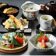 先付、小鉢、煮物、口取り、巻物、天ぷら、そば