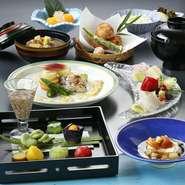 先付、お造り、治部椀、茶碗蒸し、天ぷら、お食事
