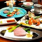 黒毛和牛サーロインステーキが楽しめるお料理コース。