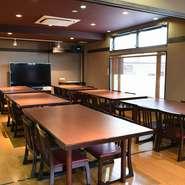 焼肉とは別になりますが、最大60名様まで収容可能な多目的ホールを完備しています。様々な年代の方が利用しやすいようにと、低めのテーブル席を設置。慶弔事などに併せて、懐石料理を用意しています。