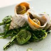 バイ貝とオカヒジキのベノジェーベソース