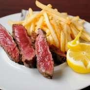 柔らかい赤身肉のランプをジューシーな厚切りステーキに!! 上質なお肉の旨味をたっぷりと堪能できます。
