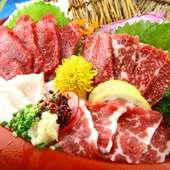 地元熊本ならではの味を堪能できる逸品『上馬刺し盛合せ』