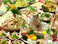 お刺身の盛り合わせやチキンステーキ、揚げもの盛合せなど大満足の内容!